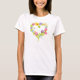 Camiseta Grinalda da flor da aguarela do t-shirt do coração