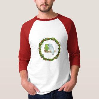 Camiseta Grinalda do Natal dos pares de Parrotlet