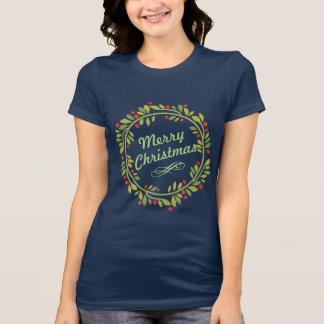 Camiseta Grinalda elegante do Feliz Natal do azevinho