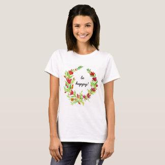 Camiseta Grinalda pintado à mão da flora com texto