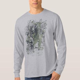 Camiseta Grunge Eagle, t-shirt longo da luva dos homens