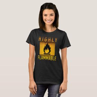 Camiseta Grunge retro de advertência altamente inflamável