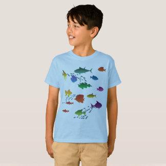 Camiseta Grupo colorido de peixes subaquáticos