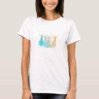 Camiseta Grupo de amigos que saltam para a alegria na