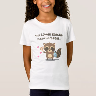3d577b60e56 Camiseta Guaxinim mascarado pequeno do bandido do amor