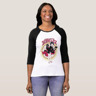 Camiseta Gueixa Monroe 3/4 de t-shirt do Raglan da luva