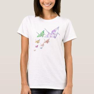 Camiseta Guindastes de papel de Origami do vôo