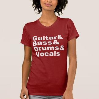 Camiseta Guitar&Bass&Drums&Vocals (branco)