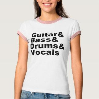 Camiseta Guitar&Bass&Drums&Vocals (preto)