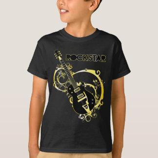 Camiseta Guitarra da estrela do rock - preto & ouro
