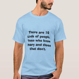 Camiseta Há 10 tipos das pessoas. Aqueles que sabem b…