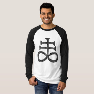 Camiseta Hail Satanás - 666 Cult cross anticristo Raglan -