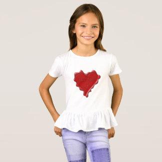 Camiseta Hannah. Selo vermelho da cera do coração com