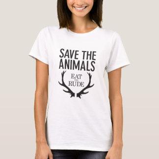 Camiseta Hannibal Lecter - coma o rude (salvar os animais)