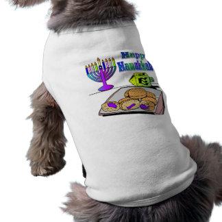 Camiseta Hanukkah - comida, Dreidel, roupa do animal de