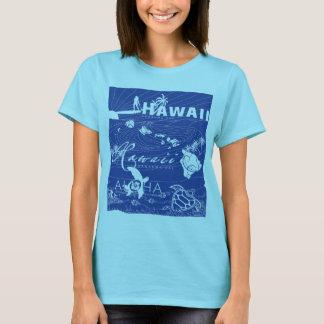 Camiseta Havaí azul que surfa