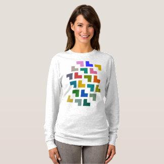 Camiseta Helpy/t-shirt longo básico luva das mulheres