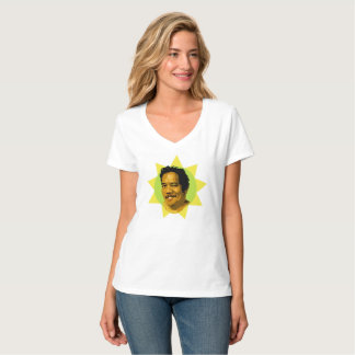 Camiseta Hey, bebê! V-Pescoço branco do t-shirt