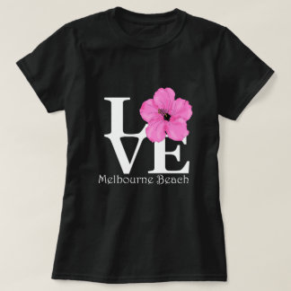 Camiseta Hibiscus do rosa da praia de Melbourne do AMOR