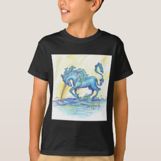 Camiseta Hipocampo azul do cavalo dos peixes do unicórnio