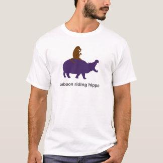 Camiseta Hipopótamo da equitação do babuíno