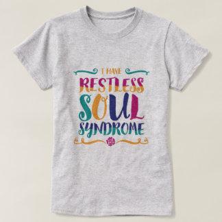 Camiseta Hippie agitado da tipografia da síndrome da alma
