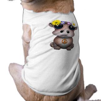 Camiseta Hippie bonito do hipopótamo do bebê