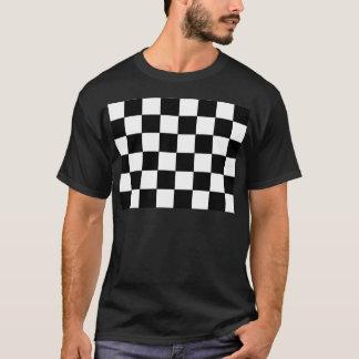 Camiseta Hipster retro do tabuleiro de damas preto e branco