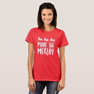 Camiseta Ho Ho Ho derrame o Merlot