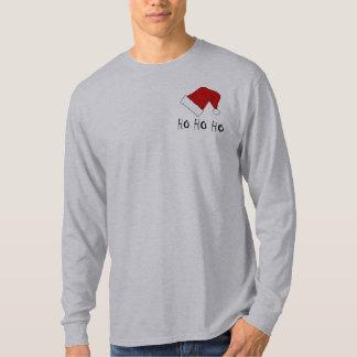 Camiseta Ho Ho Ho t-shirt do LS dos homens do chapéu do