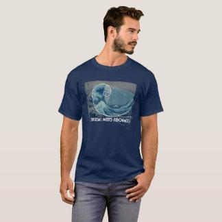 Camiseta Hokusai encontra Fibonacci, relação dourada #2