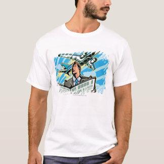 Camiseta Homem de negócios com jornal e avião acima