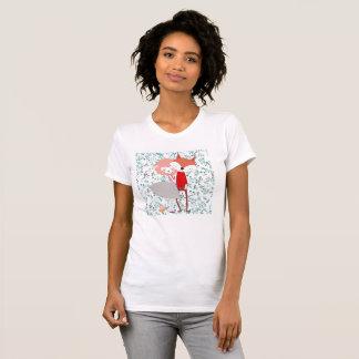 Camiseta Homem do lobo da raposa do caráter bonito e