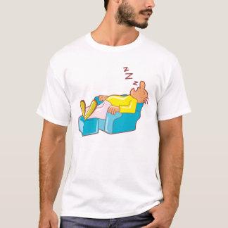 Camiseta Homem dos desenhos animados que dorme na cadeira