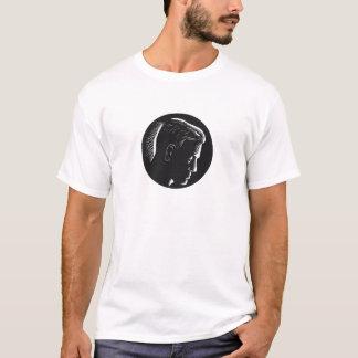 Camiseta Homem pensativo no Woodcut profundo do círculo do