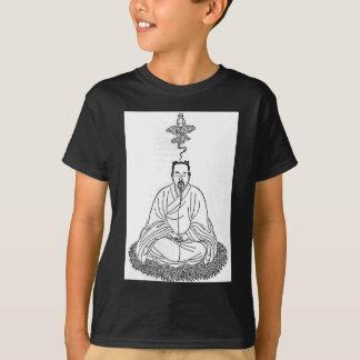 Camiseta Homem que senta-se na pose da meditação