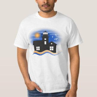 Camiseta Homens do Seascape do farol do preto azul e do