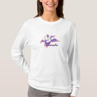 Camiseta Hoodie aquilégia da flor do Colorado das mulheres