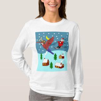 Camiseta Hoodie do papai noel do esqui