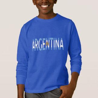 Camiseta Hoodie do sinal do texto da bandeira de Argentina