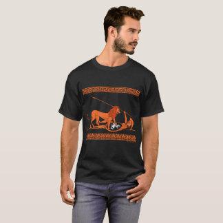 Camiseta Hoplit e leão (vermelhos no preto)