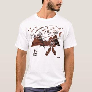 Camiseta Howdy sócio - madeira rústica