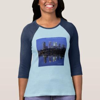 Camiseta Humores eclécticos Jazzykat dos azuis marinhos das
