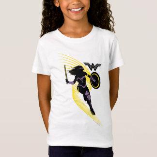 Camiseta Ícone da silhueta da mulher maravilha da liga de