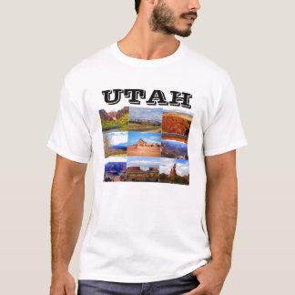 Camiseta Ícones da colagem da paisagem de Utá