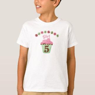 Camiseta Idade 5 da menina do aniversário