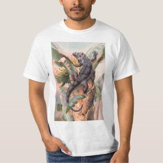 Camiseta Iguana preta tropical, animal selvagem do réptil
