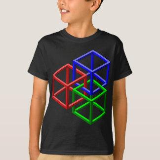 Camiseta Ilusão óptica da geometria impossível dos cubos