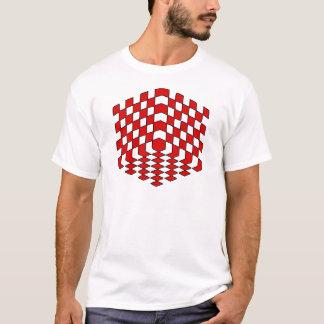 Camiseta ilusão óptica do cubo 3D vermelho