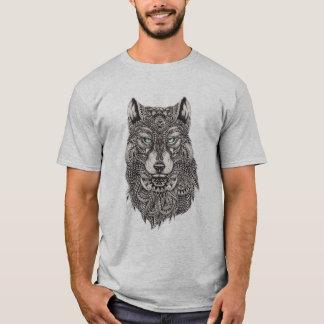 Camiseta Ilustração abstrata detalhada da cabeça do lobo